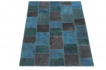 Patchwork Teppich Blau Türkis Braun in 200x150 1001-167126