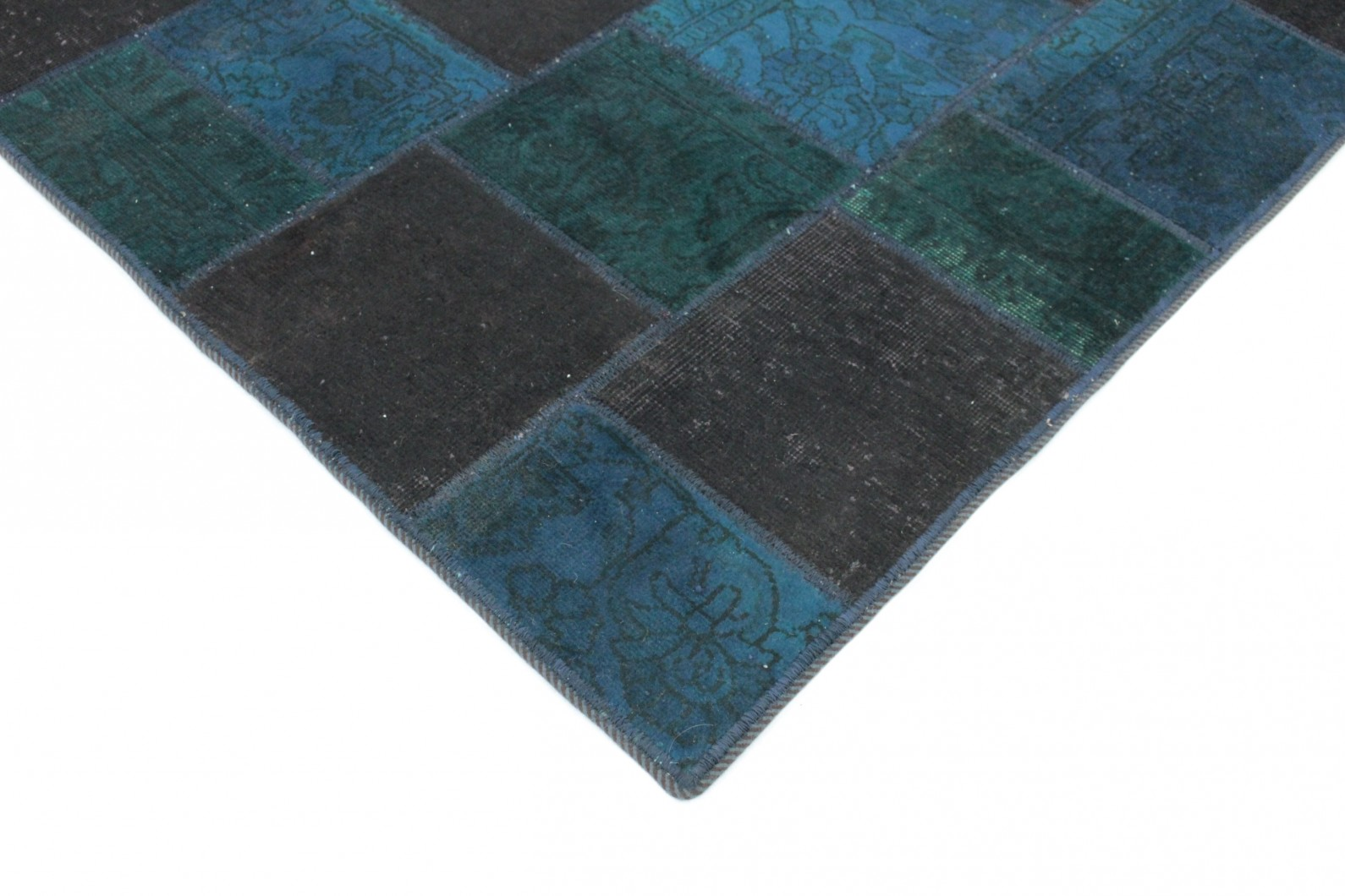 patchwork teppich blau t rkis braun in 200x150 1001. Black Bedroom Furniture Sets. Home Design Ideas