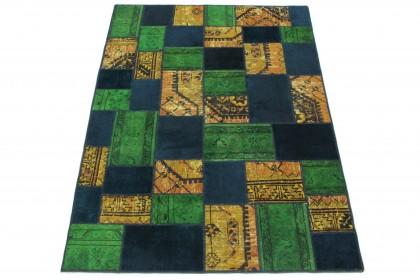 Patchwork Teppich Orange Blau Grün in 240x160