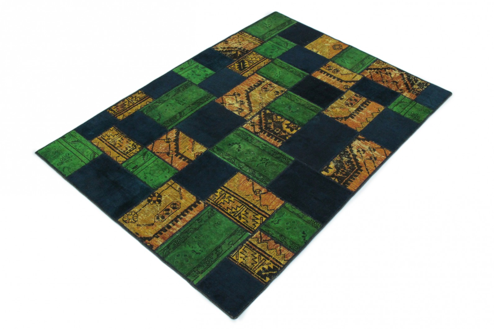 patchwork teppich orange blau gr n in 240x160 1001 167129. Black Bedroom Furniture Sets. Home Design Ideas