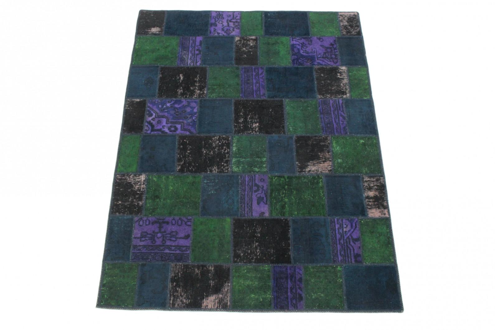 patchwork teppich gr n lila schwarz blau in 210x150 1001 167131 bei kaufen. Black Bedroom Furniture Sets. Home Design Ideas