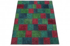 Patchwork Teppich Rot Grün Türkis in 210x150