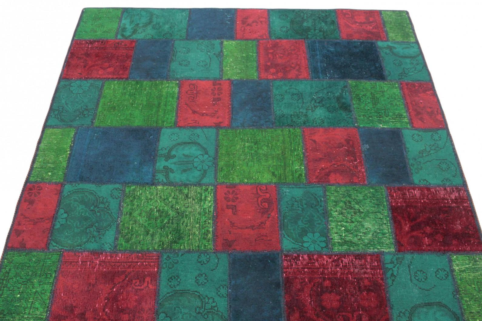Patchwork Teppich Rot Grun Turkis In 210x150 1001 167132 Bei