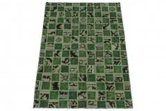 Patchwork Teppich Grün Beige in 160x110