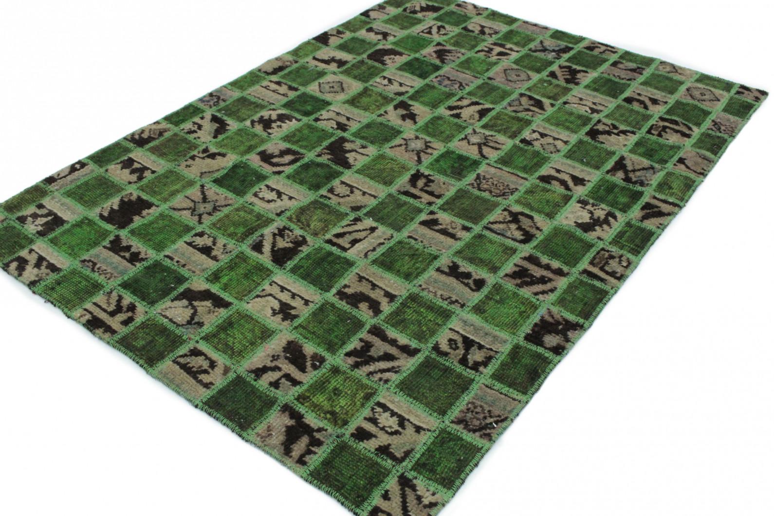 Patchwork teppich grün beige in  bei