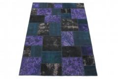 Patchwork Teppich Lila Blau Schwarz in 240x170