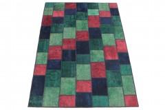 Patchwork Teppich Rot Grün Türkis Blau in 250x170