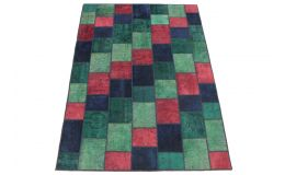 Patchwork Rug Red Green Turquoise Blue in 250x170