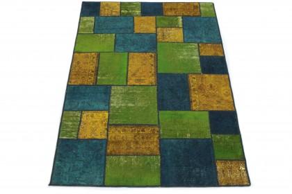Patchwork Teppich Blau Grün Orange in 240x160
