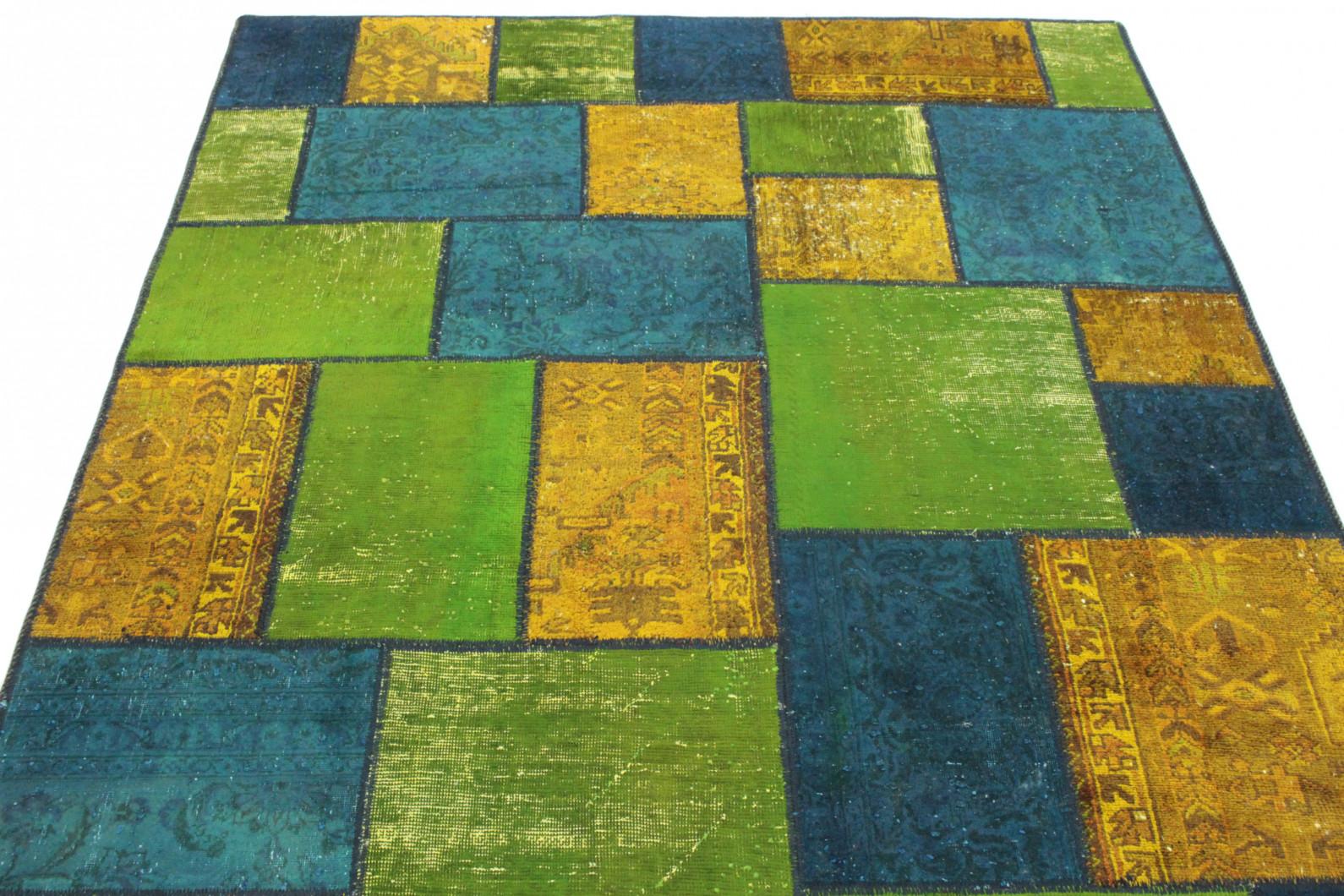 patchwork teppich blau gr n orange in 240x160 1001 167139. Black Bedroom Furniture Sets. Home Design Ideas