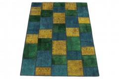 Patchwork Teppich Gelb Türkis Grün in 200x150