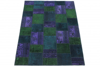 Patchwork Teppich Grün Lila Blau in 210x150