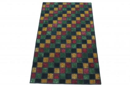 Patchwork Teppich Blau Grün Gelb Rot in 210x130