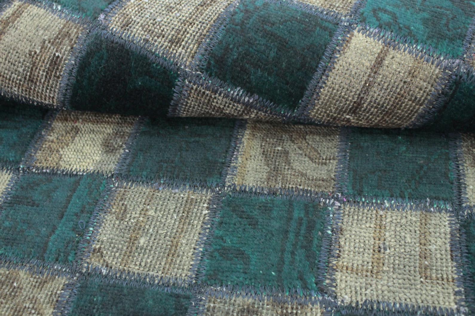 patchwork teppich gr n braun in 150x100 1001 167146 bei kaufen. Black Bedroom Furniture Sets. Home Design Ideas