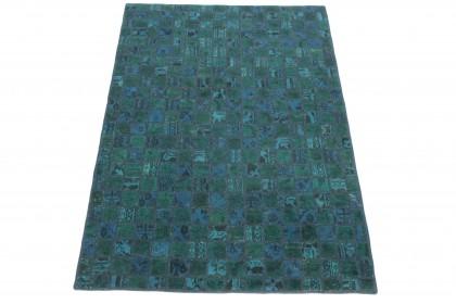 Patchwork Teppich Türkis Blau in 240x160