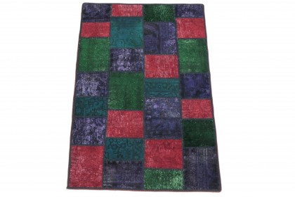 Patchwork Teppich Grün Türkis Lila Rot in 150x100 1001-167150