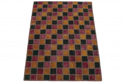 Patchwork Teppich Orange Rot Grün in 170x130