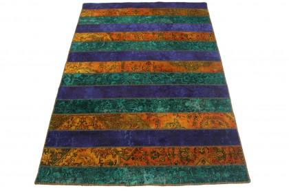 Patchwork Teppich Orange Lila Türkis in 250x170cm