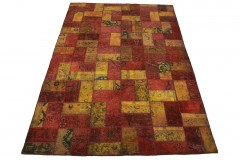 Patchwork Teppich Rot Gold in 360x240cm