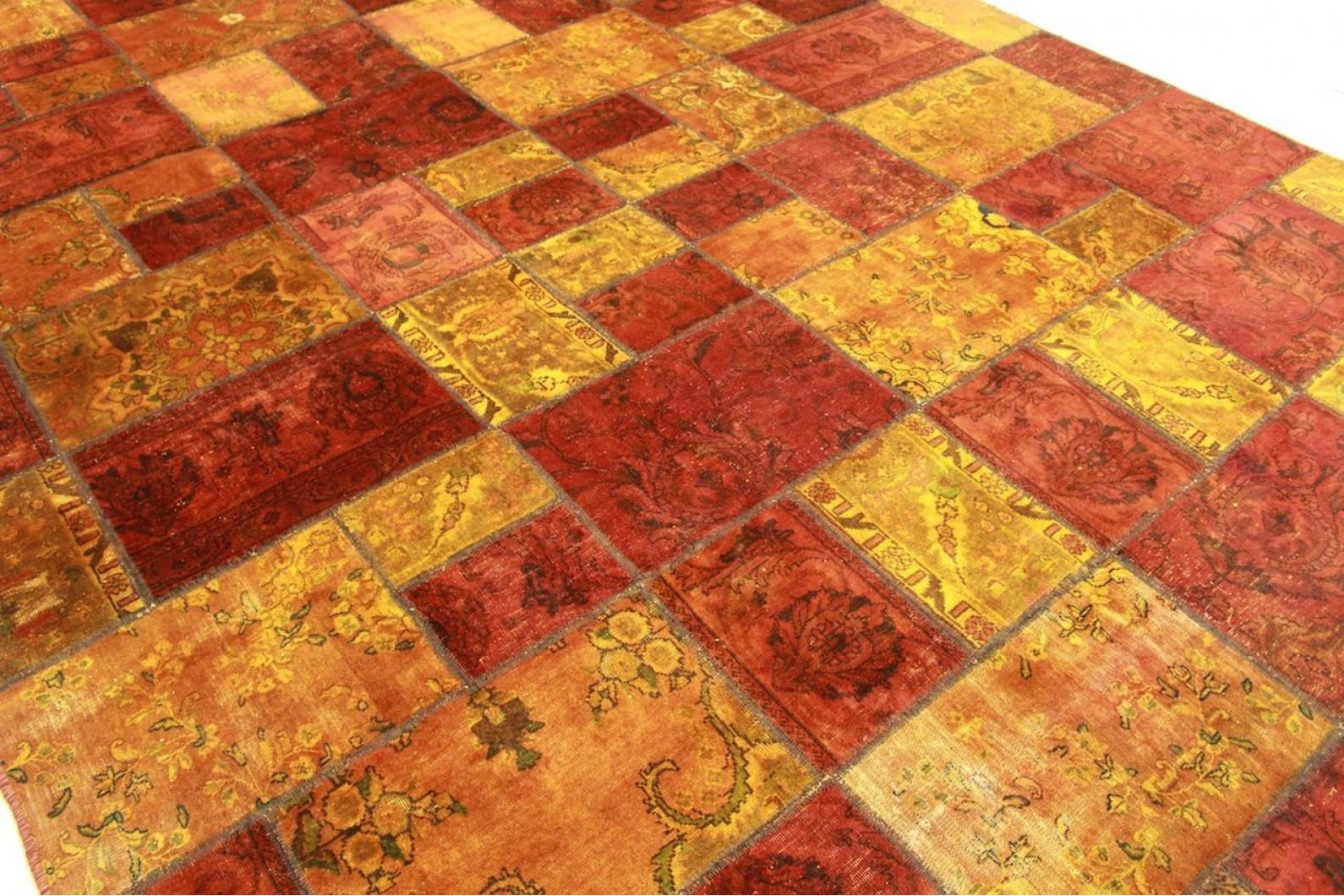 Patchwork teppich orange braun in cm