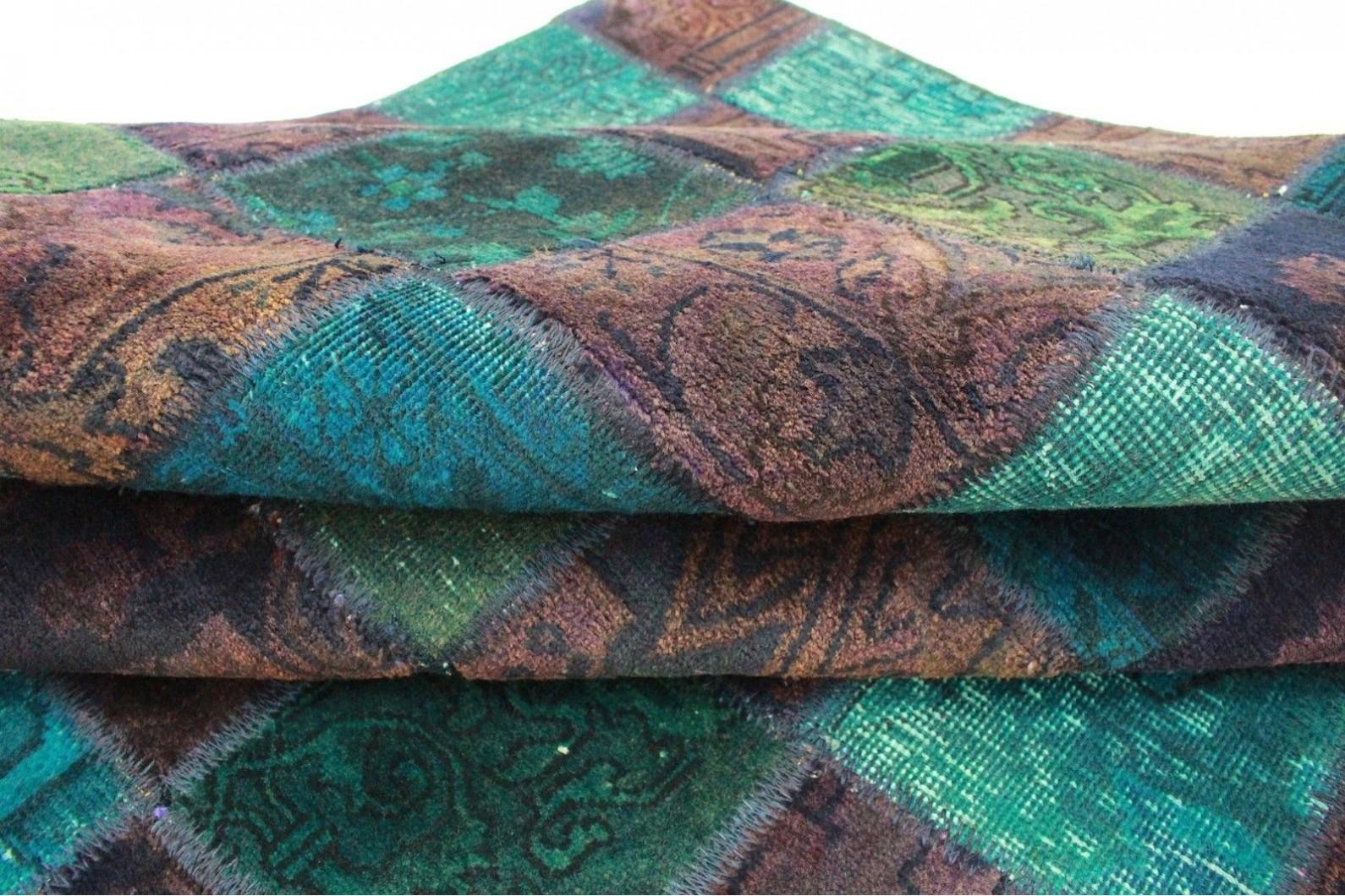 Patchwork teppich braun lila türkis in cm  bei