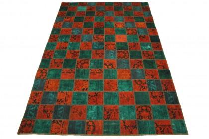 Patchwork Teppich Rot Türkis in 300x200cm 1001-1869