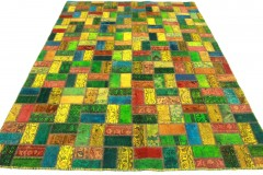 Patchwork Teppich Orange Rot Blau Gelb in 290x200cm