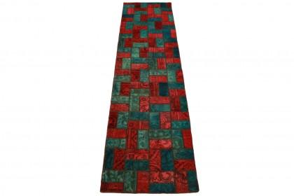 Patchwork Teppich Rot Türkis in 310x80cm 1001-1904