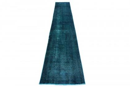 Vintage Teppich Läufer Blau Türkis in 490x80