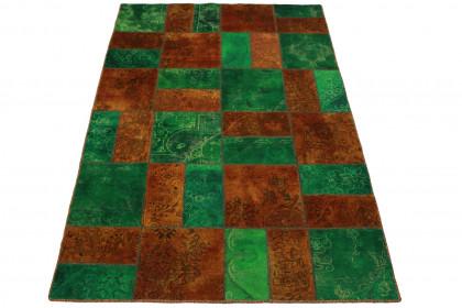 Patchwork Teppich Orange Grün in 240x160cm