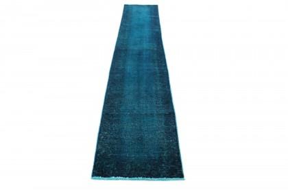 Vintage Teppich Läufer Blau in 380x70
