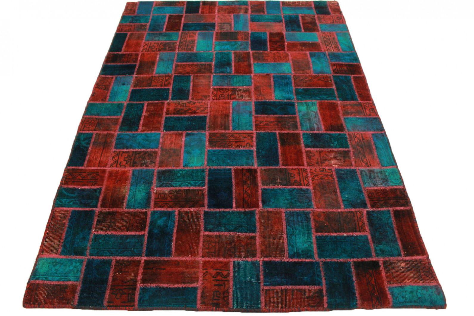 patchwork rug red turquoise in 200x140cm 1001 1913. Black Bedroom Furniture Sets. Home Design Ideas