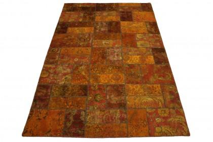 Patchwork Teppich Orange Rot in 310x200cm