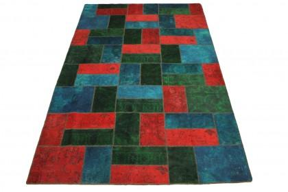 Patchwork Teppich Grün Rot Türkis in 310x200cm 1001-1938