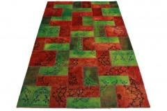 Patchwork Teppich Grün Rot in 310x220cm
