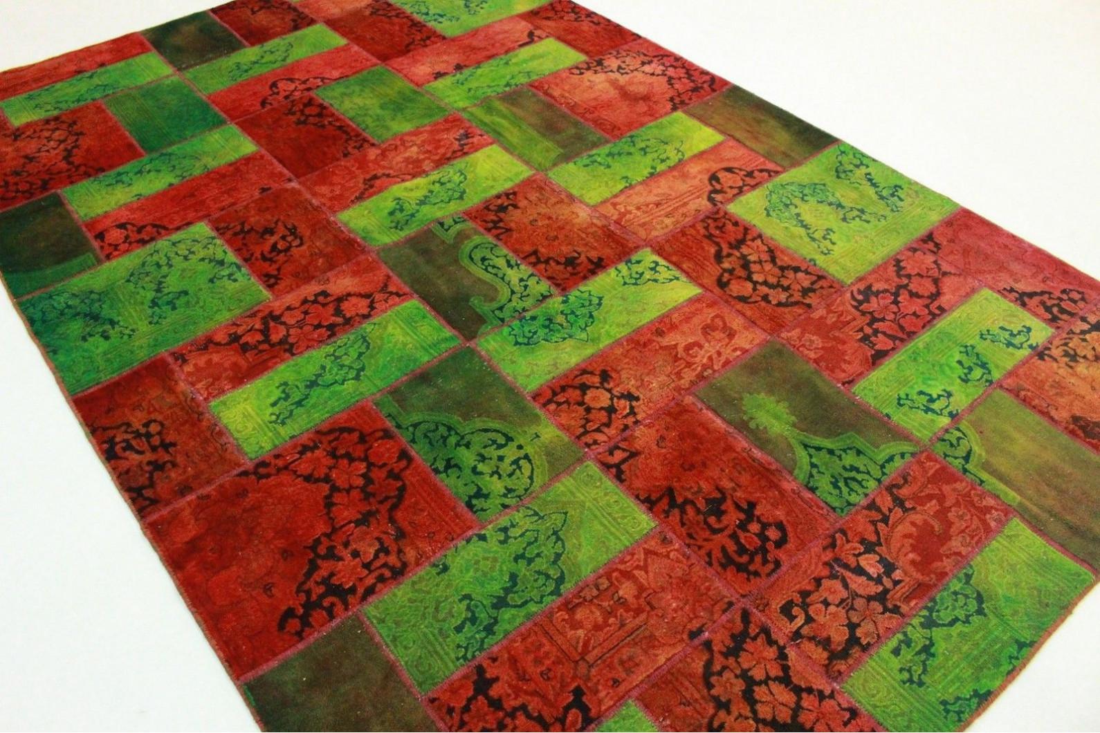 Patchwork Teppich Grun Rot In 310x220cm 1001 1939 Bei Carpetido De