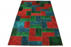 Patchwork Teppich Rot Blau in 310x200cm