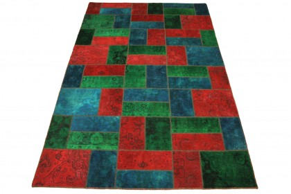 Patchwork Rug Red Blue in 310x200cm