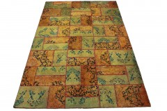 Patchwork Teppich Orange Grün in 310x200cm