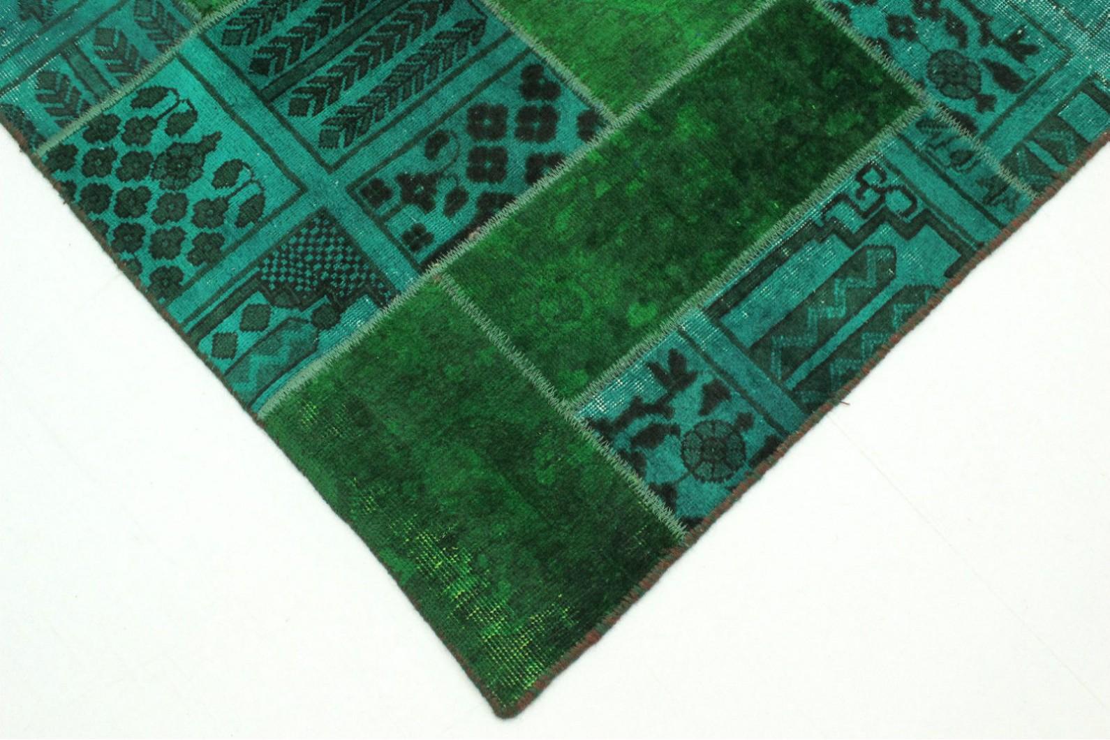 patchwork teppich gr n t rkis in 310x200cm 1001 1948 bei kaufen. Black Bedroom Furniture Sets. Home Design Ideas