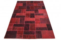 Patchwork Teppich Rot in 310x200cm
