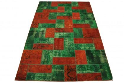 Patchwork Teppich Orange Grün in 310x200cm