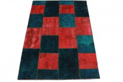 Patchwork Teppich Rot Blau Türkis in 200x140cm