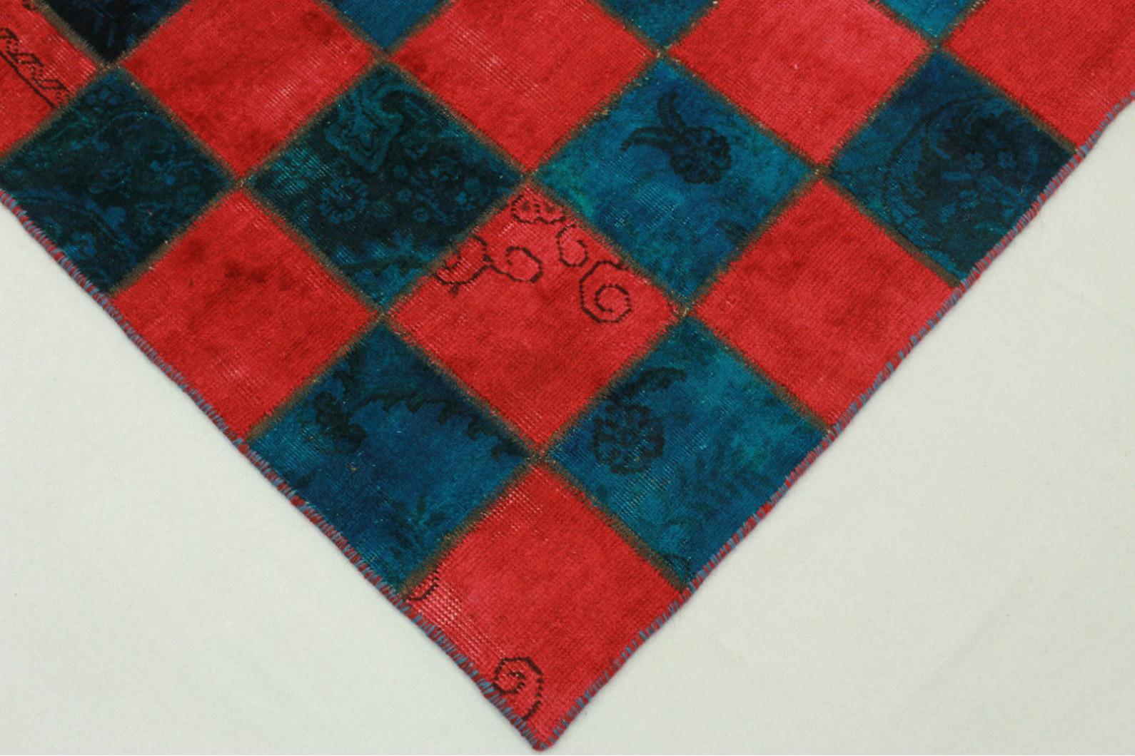 patchwork teppich rot blau in 200x140cm 1001 1970 bei kaufen. Black Bedroom Furniture Sets. Home Design Ideas