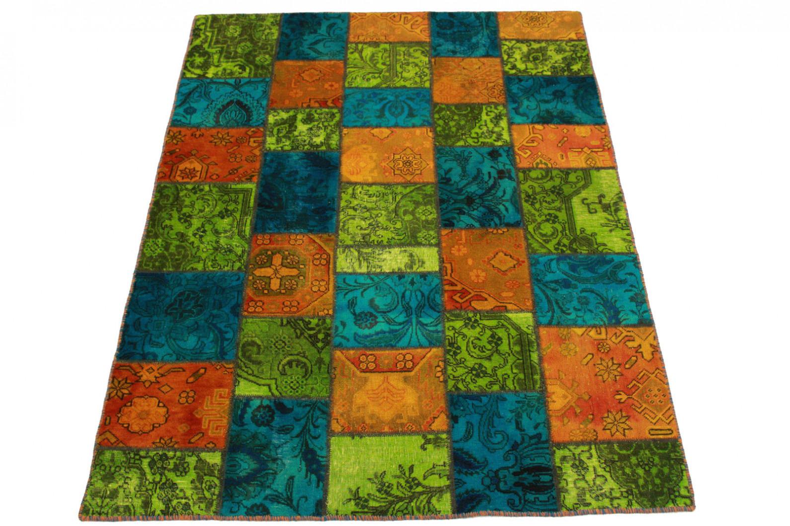 patchwork teppich orange gr n t rkis in 200x150cm 1001 1971 bei kaufen. Black Bedroom Furniture Sets. Home Design Ideas