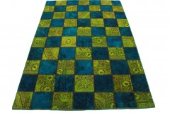 Patchwork Teppich Grün Blau in 200x140cm