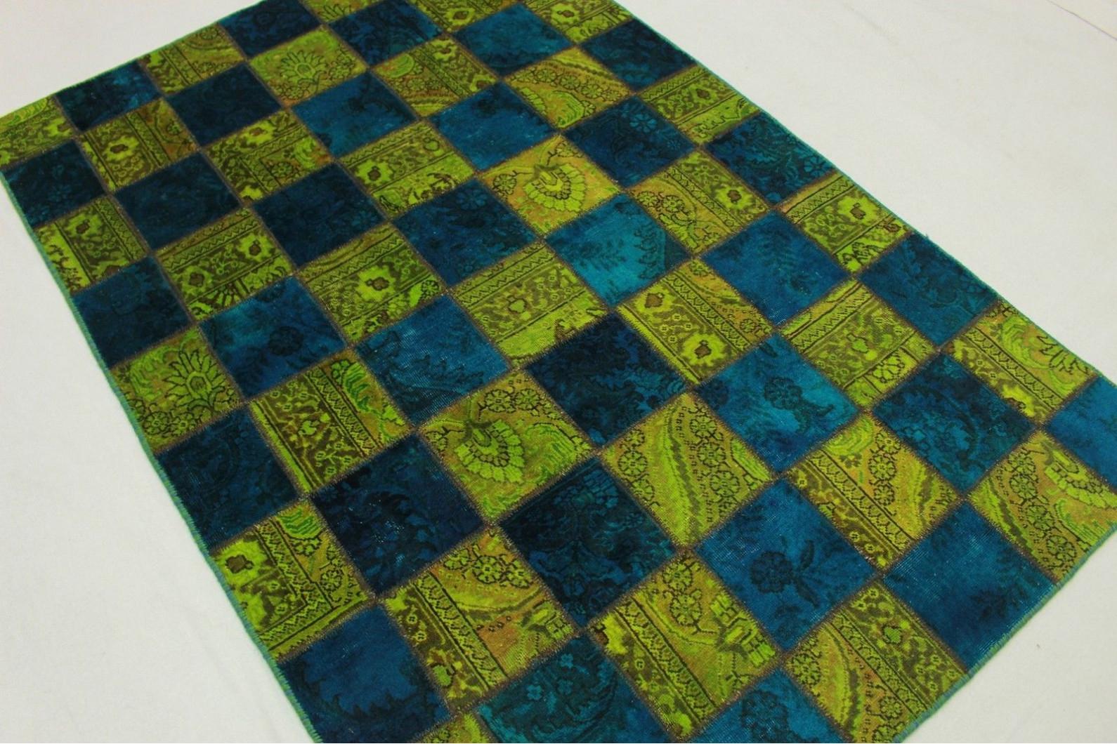 Teppich grün blau  Patchwork Teppich Grün Blau in 200x140cm (1001-1972) bei carpetido ...