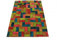 Patchwork Teppich Orange Blau Pink Gelb in 200x140cm