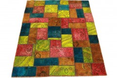 Patchwork Teppich Rot Blau Pink in 200x150cm