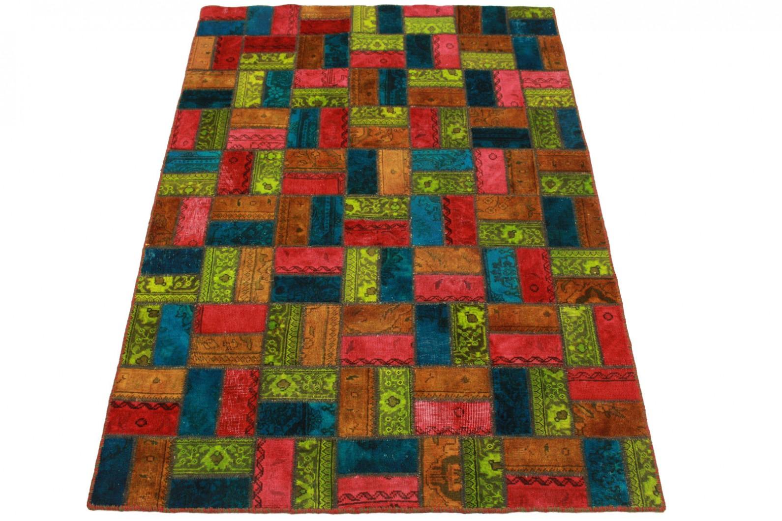 patchwork teppich orange rot blau in 210x140cm 1001 1978. Black Bedroom Furniture Sets. Home Design Ideas